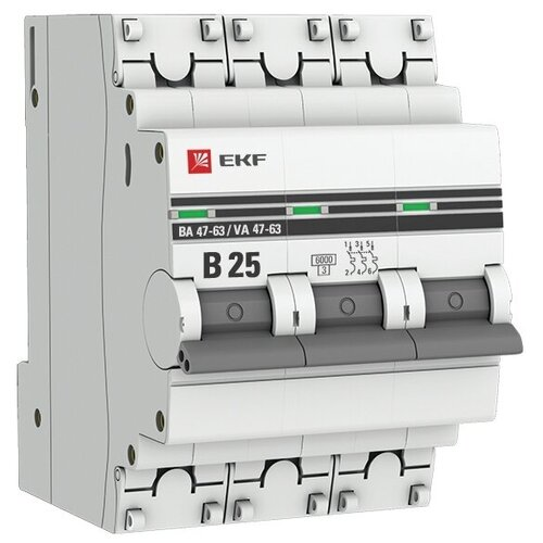 Фото - Автоматический выключатель EKF ВА 47-63 3P (B) 6kA 25 А автоматический выключатель ekf ва 47 63 1p b 6ka 50 а