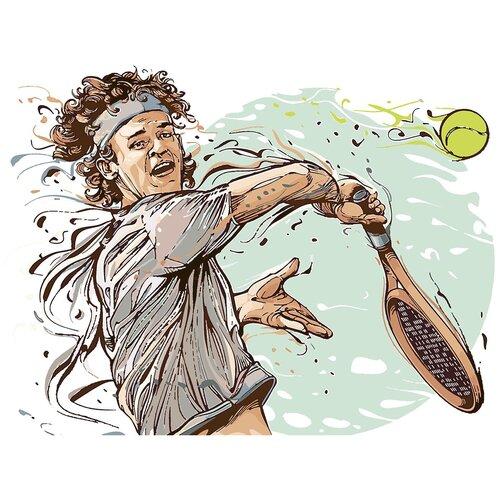 Картина по номерам Теннисист Арт, 80 х 120 см, Красиво Красим, Картины по номерам и контурам  - купить со скидкой