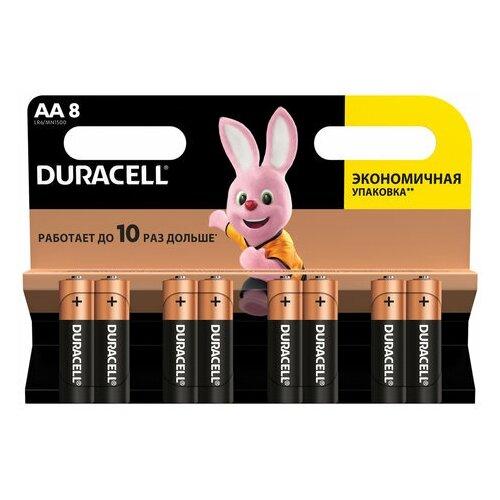 Фото - Батарейки комплект 8 шт., DURACELL Basic, AA (LR06, 15А), алкалиновые, пальчиковые, блистер, 1 шт. батарейки pkcell aa пальчиковые 12 шт уп