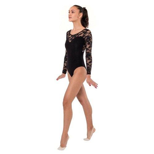 Купальник гимнастический черный гипюр длиный рукав 02 р.40 5182005