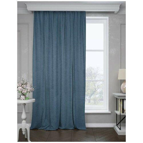 Портьеры ТД Текстиль Канвас на ленте 280 см, 1 шт. синий портьеры тд текстиль канвас на ленте 280 см 1 шт синий