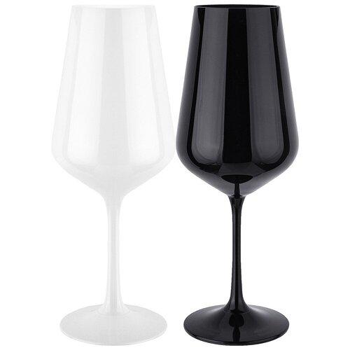 Набор бокалов из 2 штук black white 450 мл Bohemia crystal (674-747)