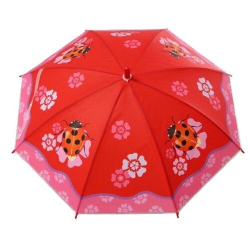 Зонт детский «Божья коровка», полуавтоматический, r=40см, цвет красный