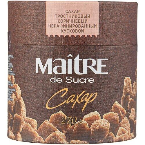 Фото - Сахар Maitre Тростниковый коричневый кусковой, картонная упаковка, 270 г сахар темный dansukker кусковой 500 г