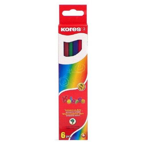 Купить Карандаши цветные 6цв 3-гран Kores 93306.01 2 штуки, Цветные карандаши