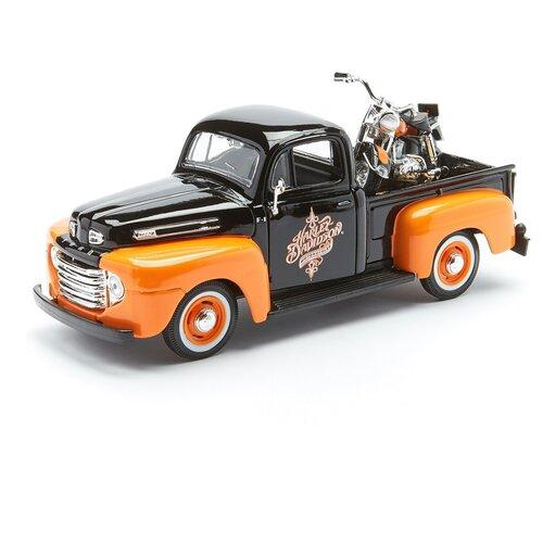 Купить Maisto Автомобиль Ford F-1 Pickup 1948 и Мотоцикл FLH Duo Glide 1958, 1:24, черный, оранжевая, Машинки и техника