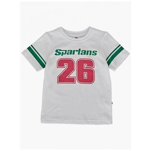 Купить Футболка Mini Maxi 0188, цвет белый-зеленый, размер 116, Футболки и майки