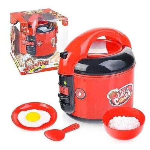 Детская игровая бытовая техника мультиварка 5541 Kitchen Set, открывается крышка, мелодии, светится, звук кипящей воды, в наборе: ложка, миска, тарелка, яичница, рис, 17х16х14 см