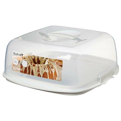 Фото - Sistema Контейнер для торта Bake It 1260, 34.2x35 см, белый/бесцветный контейнер 685мл sistema bake it