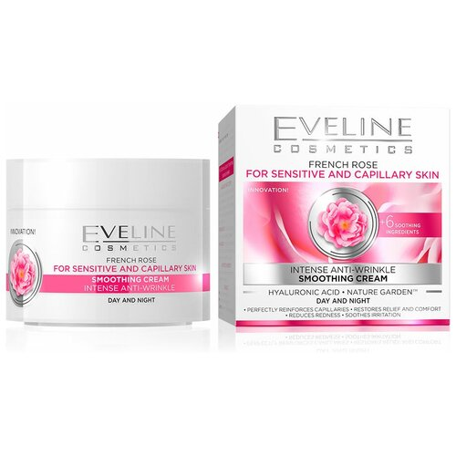 Eveline Cosmetics 6 компонентов French Rose Омолаживающий крем для лица с экстрактом Французской Розы против морщин, 50 мл