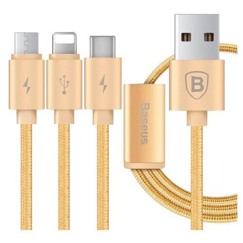 Фото - Кабель Baseus Portman Series USB - microUSB/Lightning/USB Type-C (CAMCLGTC) 1.2 м, золотистый кабель baseus u shaped usb lightning usb type c camutc 0 23 м черный