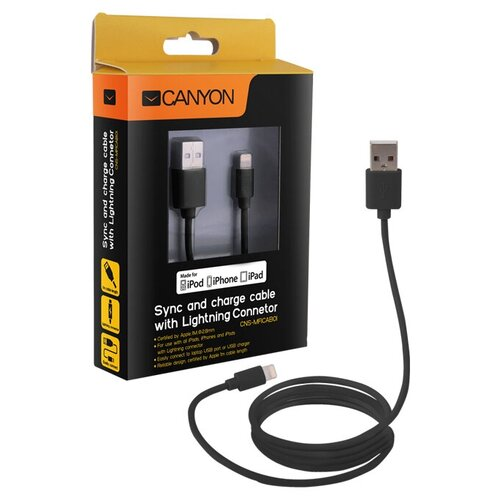 Кабель Canyon USB - Lightning (CNS-MFICAB01) 1 м, black кабель canyon usb lightning cne cfi3 1 м темно серый