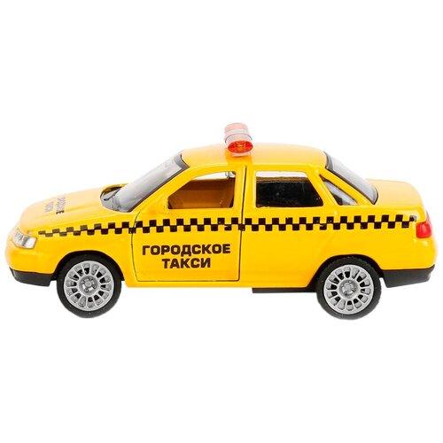 Фото - Легковой автомобиль ТЕХНОПАРК Lada 2110 Такси (SB-16-44-T-WB), 12 см, желтый автобус технопарк рейсовый sb 16 88 blc 7 5 см желтый