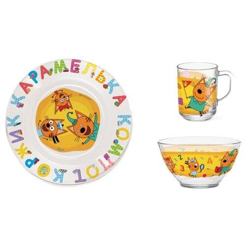 Фото - Набор для завтрака PRIORITY Три кота. Цифры и буквы, 1 персона, 3 предм., разноцветный бизиборд alatoys три кота учим цифры разноцветный