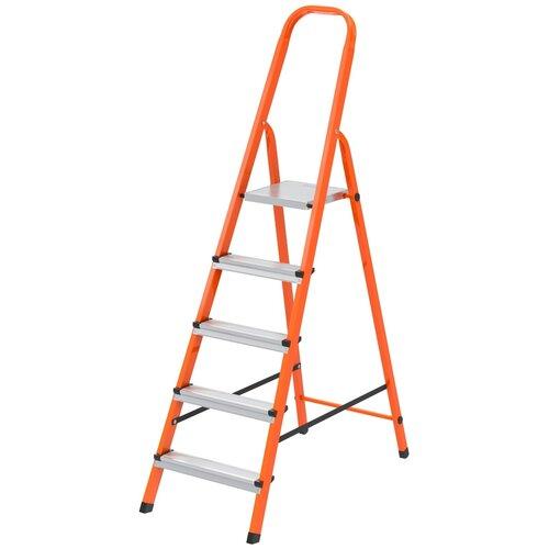 СИБРТЕХ Стремянка, 5 ступеней, стальной профиль, ступени сталь, оранжевая, Сибртех