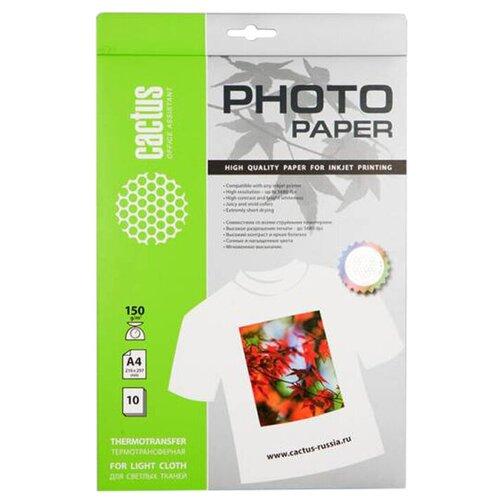 Фото - Бумага cactus А4 CS-TD15010 150 г/м² 10 лист., белый бумага cactus cs ma422020ds а4 220г кв м матовая 20л