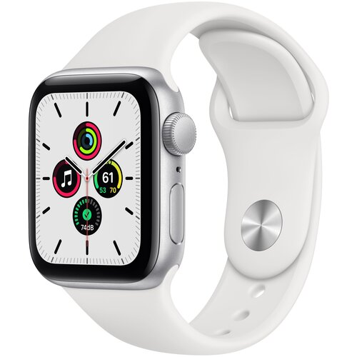 Умные часы Apple Watch SE GPS 40мм Aluminum Case with Sport Band, серебристый/белый умные часы apple watch series 6 gps 44mm aluminum case with sport band white серебристый белый