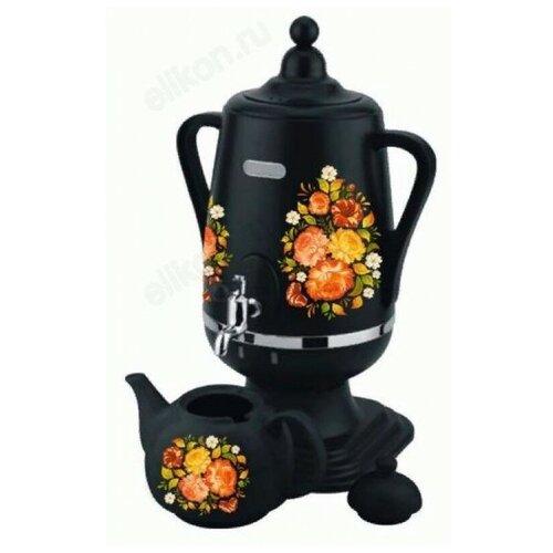 Добрыня DO-430 жостово, Самовар электрический 4,0л + керамический заварочный чайник 1,0 л (цвет: чёрный)
