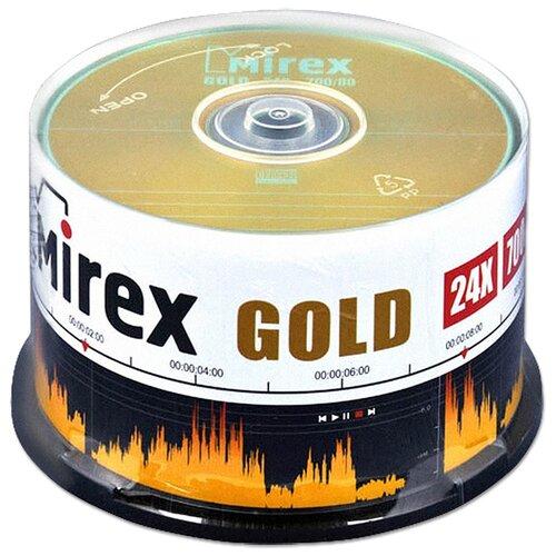Фото - Диск Mirex CD-R 700Mb GOLD 24X cake, упаковка 50 штук оптический диск cd rw mirex 700mb 4 12x cake box 10шт ul121002a8l