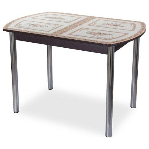Стол кухонный Домотека Танго ПО 02, раскладной, ДхШ: 110 х 70 см, длина в разложенном виде: 147 см, ВН ст-72 венге с орнаментом 02 хром