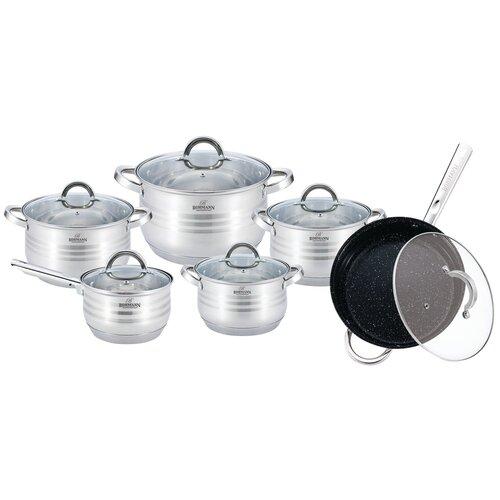 Набор посуды BOHMANN BH - 0922MRB. Объемы: 2,1л;2,1л;2,9л;3,9л;6.5л; ковш 3,3л