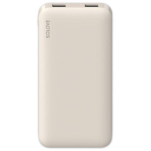 Аккумулятор Xiaomi SOLOVE 001M 10000mAh, бежевый внешний аккумулятор xiaomi solove power bank 001m 10000mah pink
