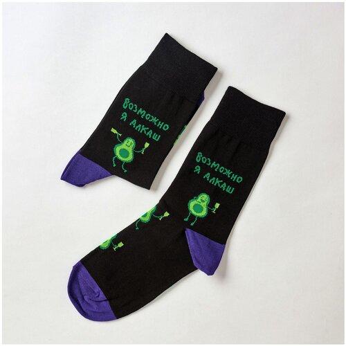 Носки St. Friday Возможно, я алкаш, размер 42-46, черный/зеленый