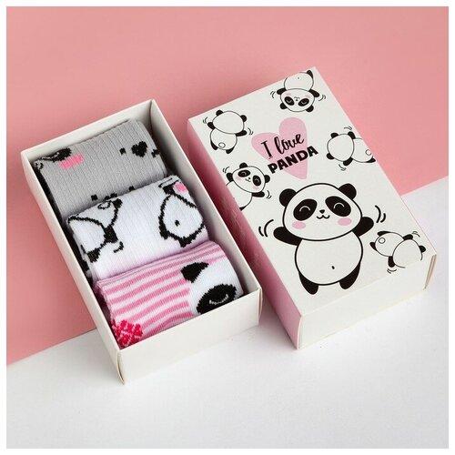 Купить Носки Kaftan комплект 3 пары размер 18-20, белый/розовый/серый