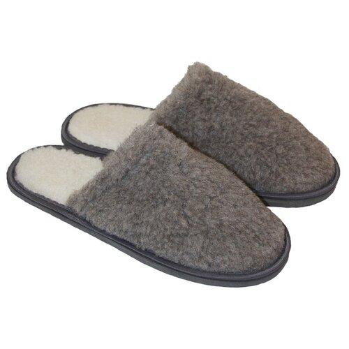 Тапочки меховые ИвШуз, пепельно-серые, размер 38-39