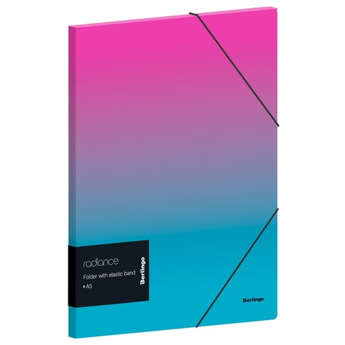 Berlingo Папка на резинке Radiance А5+, пластик розовый/голубой градиент