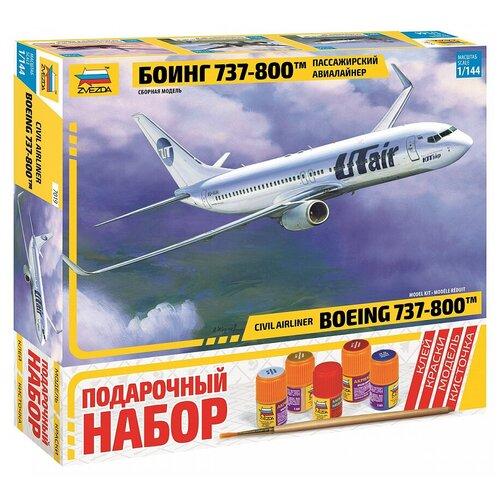 Купить Сборная модель ZVEZDA Пассажирский авиалайнер Боинг 737-800 (7019PN) 1:144, Сборные модели