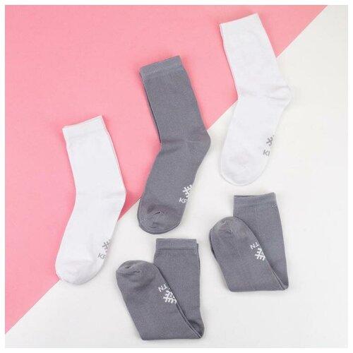 Носки Kaftan Классика 5189707/5189709, 5 пар, размер 23-25 см (37-39), белый/серый