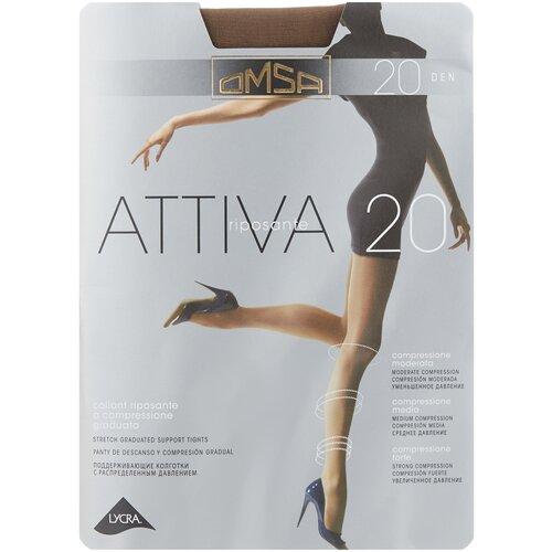 Колготки Omsa Attiva, 20 den, размер 5-XL, camoscio (коричневый) колготки omsa attiva 70 den размер 2 s camoscio коричневый