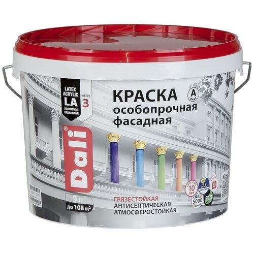 Фото - Краска акриловая DALI особопрочная Фасадная влагостойкая моющаяся матовая белый 9 л краска акриловая dali для кухни и ванной влагостойкая моющаяся матовая белый 5 л