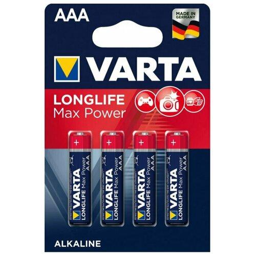 Фото - Батарейка щелочная VARTA LONGLIFE MAX POWER (Max Tech) AAA 4 шт батарейка energizer max plus aa 4 шт