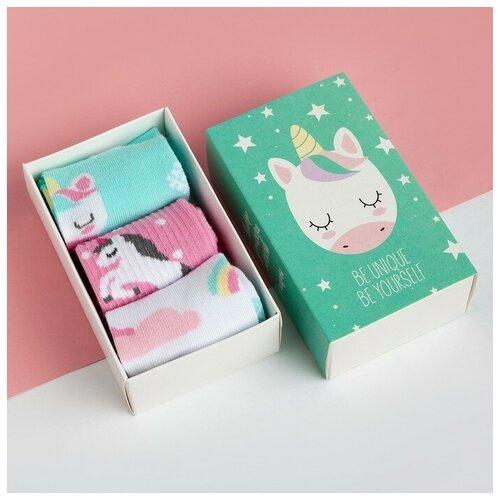Купить Носки Kaftan комплект 3 пары размер 18-20, белый/бирюзовый/розовый
