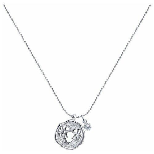 SOKOLOV Колье из серебра с кристаллом Swarovski 94070388, 40 см, 5.72 г