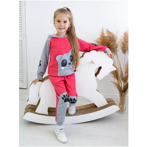 Костюм детский 746, Утенок, размер 56(рост 104 см) малина_меланж_панда (толстовка с капюшоном и брюки)