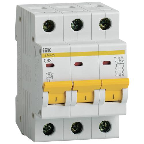 Автоматический выключатель IEK ВА 47-29 3P (C) 4,5kA 63 А автоматический выключатель iek ва 47 29 3p c 4 5ka 63 а