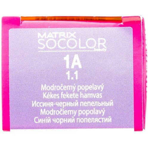 Купить Matrix Socolor Beauty стойкая крем-краска для волос, 1A иссиня-черный пепельный, 90 мл