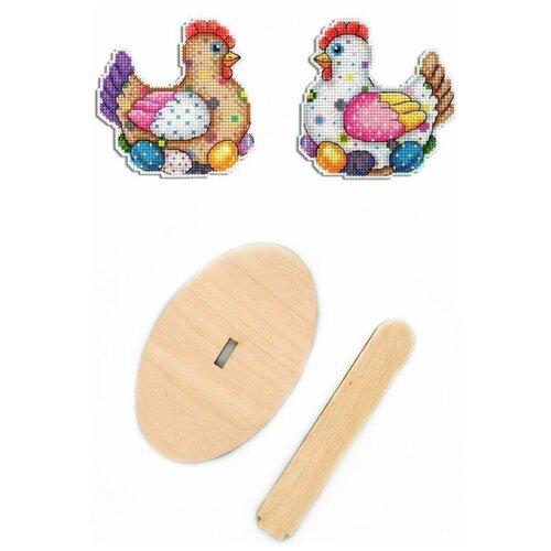 Купить Набор для вышивания крестом, комплект: Р-410 Пасхальная курочка , РА-008 подставка деревянная малая , МП Студия, М.П.Студия, Наборы для вышивания