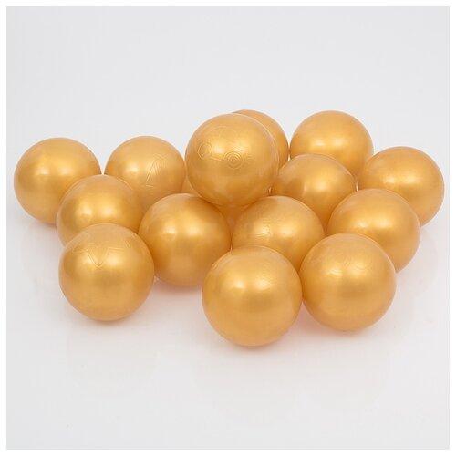 Шарики для сухого бассейна Соломон с рисунком, диаметр шара 7,5 см, в наборе 150 штук, цвет золотистый