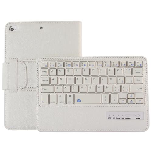 Клавиатура MyPads для Apple iPad Mini (2019) съемная беспроводная Bluetooth в комплекте c кожаным чехлом и пластиковыми наклейками с русскими буквами