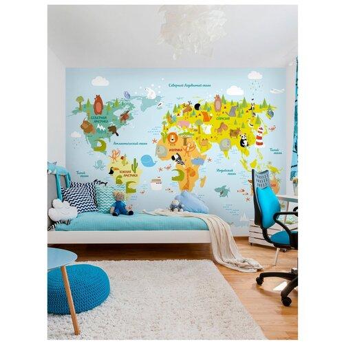 Фотообои Карта мира для детей/ Красивые уютные обои на стену в интерьер комнаты/ Детские для мальчика для девочки, для подростков/ В детскую спальню/ размер 300х270см/ Флизелиновые