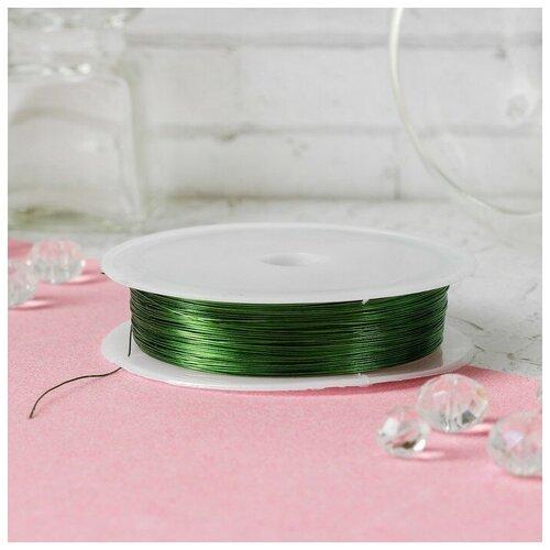 Купить Проволока для бисероплетения диаметр 0, 3 мм, длина 30 м, цвет зеленый 3801450, Сима-ленд, Фурнитура для украшений