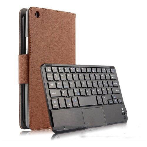 Клавиатура Mypads для Huawei MediaPad M3 Lite 8 (CPN-W09/AL00) съёмная беспроводная Bluetooth в комплекте c кожаным чехлом и пластиковыми наклейками с русскими буквами