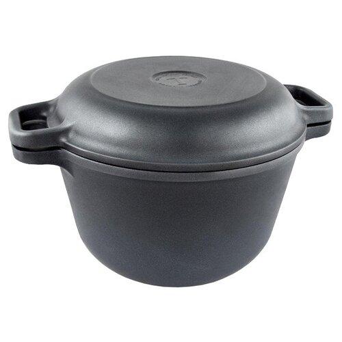 Казан алюминиевый НЕВА МЕТАЛЛ ПОСУДА 9830 Титан II с крышкой-сковородой, черный, 3 л казан алюминиевый нева металл посуда 6870 с крышкой сковородой черный 7 л