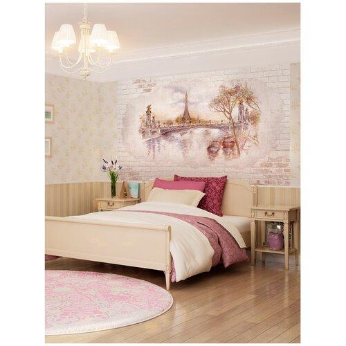 Фотообои Рисунок с видом на мост в Париже на кирпичной стене/ Красивые уютные обои на стену в интерьер комнаты/ 3Д расширяющие пространство над кроватью или над столом/ На кухню в спальню детскую зал гостиную прихожую/ размер 200х129см/ Флизелиновые