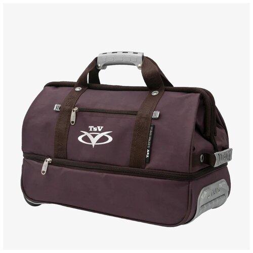 Дорожная сумка-саквояж TsV 514.32 коричневая с колёсами