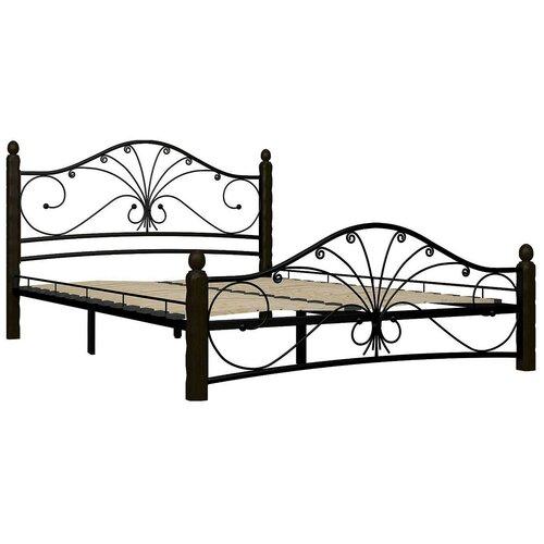 Кровать Форвард-мебель Фортуна 1 полутороспальная, размер (ДхШ): 212х147 см, каркас: металл, цвет: черный/шоколад
